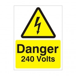 Danger 240 Volts Electrical Sign - 150mm x 200mm
