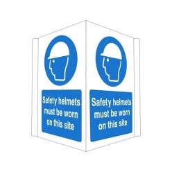 Safety Helmets Must Be Worn On This Site Projecting Sign