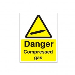 Danger Compressed Gas Warning Sign - 150mm x 200mm