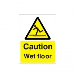 Caution Wet Floor Warning Sign - 150mm x 200mm