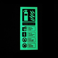 Photoluminescent Carbon Dioxide Fire Extinguisher Identification Sign