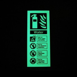 Photoluminescent Water Fire Extinguisher Identification Sign