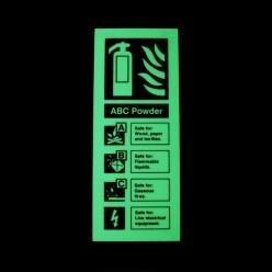 Photoluminescent ABC Powder Fire Extinguisher Identification Sign