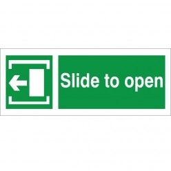 Slide To Open Arrow Left Instruction Sign - 300mm x 100mm