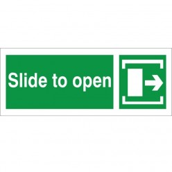 Slide To Open Arrow Right Instruction Sign - 300mm x 100mm