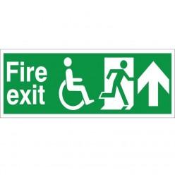 Refuge Fire Exit Up Sign - 400mm x 150mm