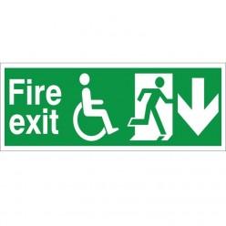 Refuge Fire Exit Arrow Down Sign