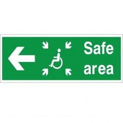 Safe Area Left Refuge Sign - 400mm x 150mm