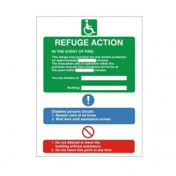 Refuge Fire Action Sign 150 x 200mm