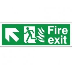Hospital Compliant Fire Exit Arrow Up Left Sign