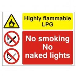 Highly Flammable LPG No Smoking No Naked Lights Sign