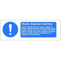 Waste Disposal Machine Hygiene Sign - 300mm x 100mm