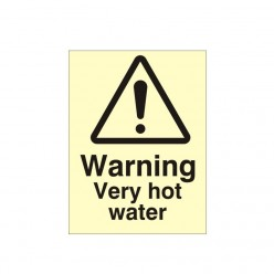 Warning Very Hot Water Photoluminescent Sign