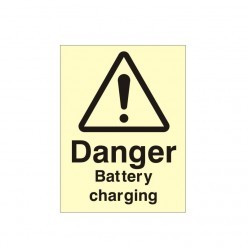 Danger Battery Charging Photoluminescent Sign