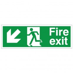 Fire Exit Arrow Down Left Sign