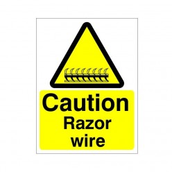 Caution Razor Wire Sign