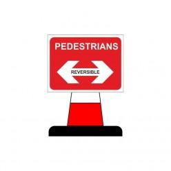 Pedestrians Arrow Reversible Cone Sign 600X450mm