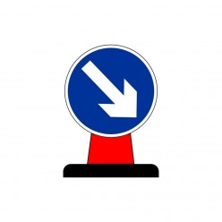 Arrow Down Right Rigid Cone Sign 600mm Circular