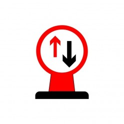 Give Way To Oncoming Vehicles Rigid Cone Sign 600 Circular