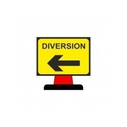 Diversion Left Cone Sign 1050x750mm