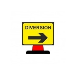 Diversion Right Cone Sign 1050x750mm