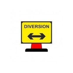 Diversion Reversible Symbol Cone Sign 1050x750mm