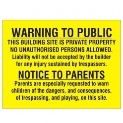 Warning To Public Sign