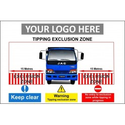 Tipping exclusion zone 1500x1000mm sign with or without your logo