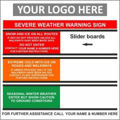 Severe weather warning 1000x1000mm sign with or without your logo