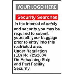 Security searches 600x800mm sign