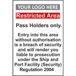Pass holders only 600x800mm sign