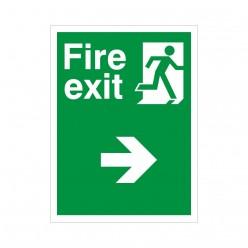 Non Slip Fire Exit Right Floor Sign