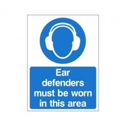 Double Sided Ear Defenders Must Be Worn In This Area Sign