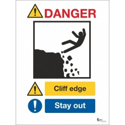 Danger cliff edge stay away sign in a variety of sizes and materials