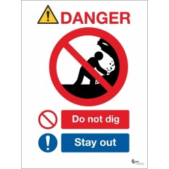Danger do not dig stay away sign in a variety of sizes and materials