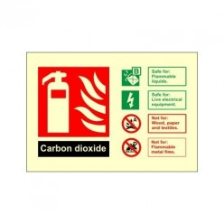 Glow In The Dark Carbon Dioxide Fire Extinguisher Identification Sign 150mm x 100mm