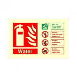Glow In The Dark Water Fire Extinguisher Identification Sign 150mm x 100mm