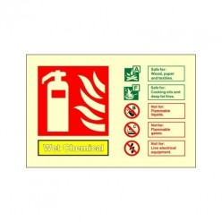 Glow In The Dark Wet Chemical Fire Extinguisher Identification Sign 150mm x 100mm