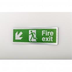 Prestige Fire Exit Arrow Down Left Sign