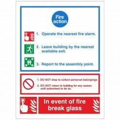 Fire Action Sign 200 x 300mm