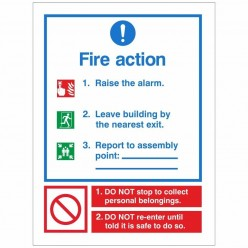 Fire Action Sign 150 x 200mm